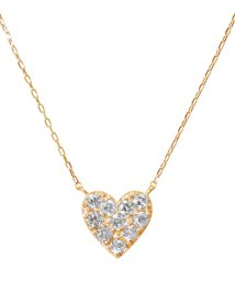 JEWELRY SELECTION/K18ゴールド 天然ダイヤモンド 計0.2ct ハート ネックレス 【K18PG ピンクゴールド】/502281276
