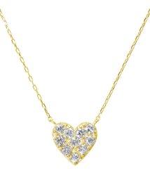 JEWELRY SELECTION/K18ゴールド 天然ダイヤモンド 計0.2ct ハート ネックレス 【K18YG イエローゴールド】/502281277