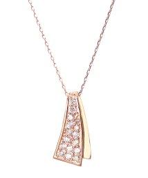JEWELRY SELECTION/K18ゴールド 天然ダイヤモンド 計0.2ct デザイン ネックレス 【K18PG ピンクゴールド】/502281284