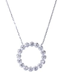 JEWELRY SELECTION/K18ゴールド 天然ダイヤモンド 計0.2ct サークル ネックレス 【K18WG ホワイトゴールド】/502281287