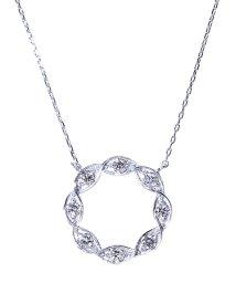 JEWELRY SELECTION/K18ゴールド 天然ダイヤモンド 計0.2ct サークル ネックレス 【K18WG ホワイトゴールド】/502281291