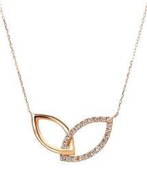 JEWELRY SELECTION/K18ゴールド 天然ダイヤモンド 計0.2ct デザイン ネックレス 【K18PG ピンクゴールド】/502281296