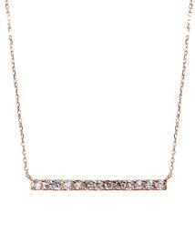 JEWELRY SELECTION/K18ゴールド 天然ダイヤモンド 計0.3ct 13石ライン ネックレス 【K18PG ピンクゴールド】/502281312