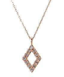 JEWELRY SELECTION/K18ゴールド 天然ダイヤモンド 計0.1ct デザイン ネックレス 【K18PG ピンクゴールド】/502281316
