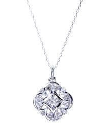 JEWELRY SELECTION/K18ゴールド 天然ダイヤモンド 計0.2ct デザイン ネックレス 【K18WG ホワイトゴールド】/502281323