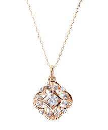 JEWELRY SELECTION/K18ゴールド 天然ダイヤモンド 計0.2ct デザイン ネックレス 【K18PG ピンクゴールド】/502281324