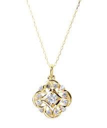 JEWELRY SELECTION/K18ゴールド 天然ダイヤモンド 計0.2ct デザイン ネックレス 【K18YG イエローゴールド】/502281325