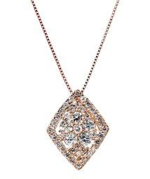 JEWELRY SELECTION/K18ゴールド 天然ダイヤモンド 計0.5ct 41石デザイン ネックレス 鑑別書付 【K18PG ピンクゴールド】/502281344