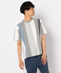 GLOSTER/パネルストライプTシャツ/502269631