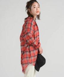 LIPSTAR/先染めチェックチュニックシャツ/502274615