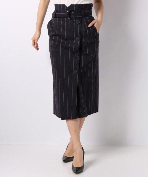 JOCONDE ROYAL(ジョコンダ ロイヤル)/ストライプロングタイトスカート(共布ベルト付き)/099398