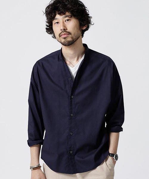 nano・universe(ナノ・ユニバース)/大人のワイドシャツ バンドカラー/6689120048