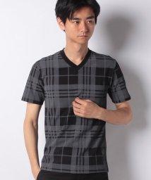 STYLEBLOCK/オンブレチェックプリントVネックTシャツ/502250053