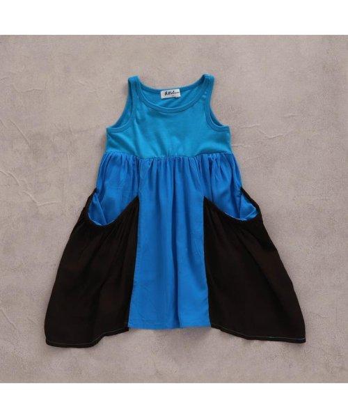 fa53bad42f6de allolun.(オールオルン) 切替配色ワンピース ブルー