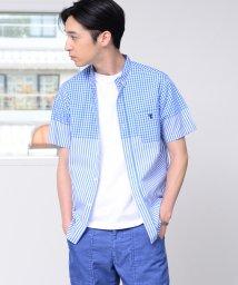 coen/先染めギンガムチェック×ストライプコンビボタンダウンシャツ半袖/502294631
