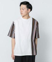 SENSE OF PLACE/ストライプブロックドTシャツ(5分袖)/502297567