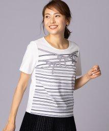 Leilian/リボンプリントTシャツ/502041677