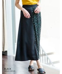 GROWINGRICH/[ボトムス スカート] 花柄と無地の組み合わせがトレンド 異素材 ラップ風 配色プリーツスカート [190427]/502298448
