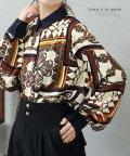 Sawa a la mode/スカーフ柄長袖ブラウス/502301970