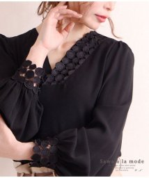 Sawa a la mode/ドット柄レースが素敵なふんわり袖ブラウス/502302012