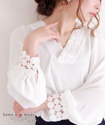Sawa a la mode/ドット柄レースが素敵なふんわり袖ブラウス/502302035