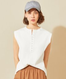 BEAUTY&YOUTH UNITED ARROWS/BY ハニカムホックヘンリーネックノースリーブカットソー/502305604