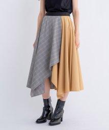 LANVIN en Bleu/チェックアシンメトリースカート/502296740
