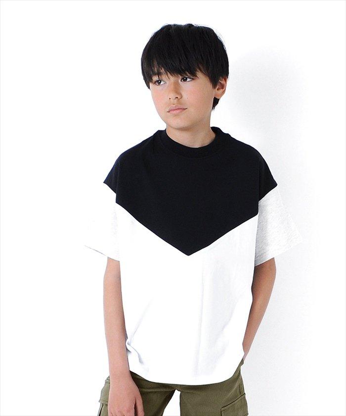 グラソス ドロップショルダー切替半袖Tシャツ レディース ブラック 150cm 【GLAZOS】