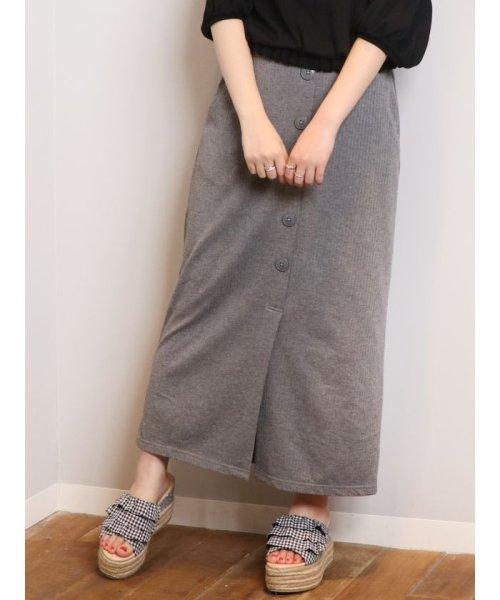 dazzlin(ダズリン)/フロントボタンテレコロングタイトスカート/021930801601