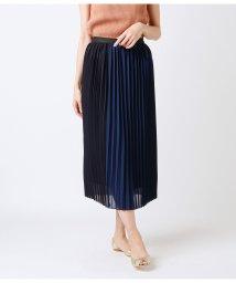 NEWYORKER/ジョーゼット 配色切替セットロングプリーツスカート/502301732