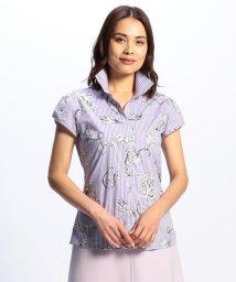 NARA CAMICIE/フラワープリントチューリップスリーブストライプシャツ/502308677