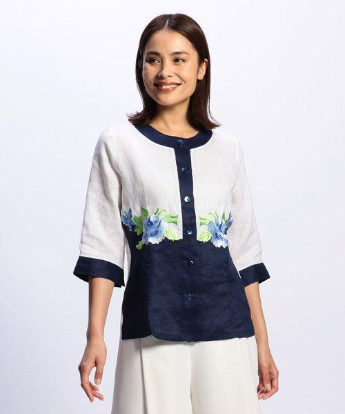 NARA CAMICIE(ナラカミーチェ)/フラワー刺繍ノーカラー七分袖ブラウス/109102268