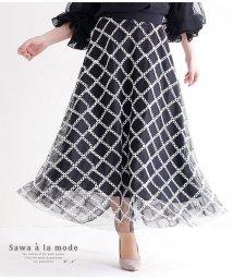 Sawa a la mode/格子柄チュールレースフレアスカート/502310835