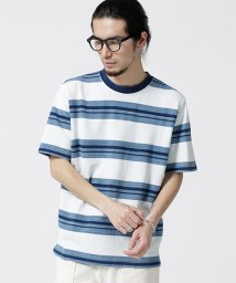 nano・universe/インディゴ鹿の子ボーダーTシャツ/502299545
