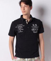 STYLEBLOCK/コットンカノコMA-1ポケットミリタリープリント4ボタン半袖ポロシャツ/502302571