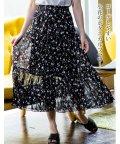 GROWINGRICH/[ボトムス スカート]ハンドプリーツ 小花柄 シフォン スカート[190334]/502314505