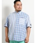 GRAND-BACK/【大きいサイズ】シナコバ/SINA COVA  サッカーマドラスチェック切替ボタンダウン半袖シャツ/502314970