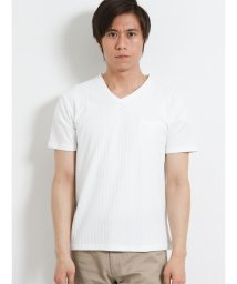 m.f.editorial/ケーブルジャガードVネック半袖Tシャツ/502314997