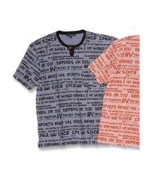 GRAND-BACK/【大きいサイズ】ヘンリーバル/HENRY VAL 総柄プリントデザインネック半袖Tシャツ/502315028