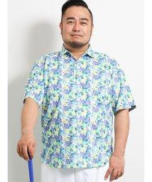 GRAND-BACK/【大きいサイズ】パラディソ/Paradiso 総柄プリント半袖ポロシャツ/502315045