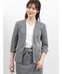m.f.editorial/ストレッチニットジャージ セットアップノーカラー7分袖ジャケット/502315065