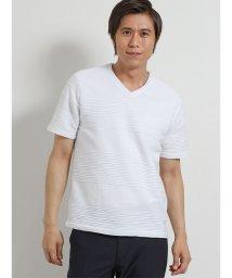 TAKA-Q/DRY ランダムタックボーダーVネック半袖Tシャツ/502315258
