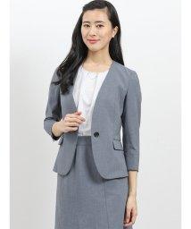 m.f.editorial/エバレット/EVARET ノーカラー7分袖ジャケット+スカート ライトグレー/502315352