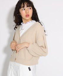PINK-latte/ワッフルカーデ×レースネックTシャツSET/502318195
