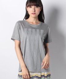 Leilian PLUS HOUSE/ロゴ×チュールストライプTシャツ/502041791