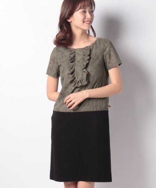 MISS J(ミス ジェイ)/刺繍入りスパンボイル×ポンチドッキング ドレス/631564