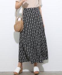 ViS/単色花柄プリントマーメイドスカート/502326042