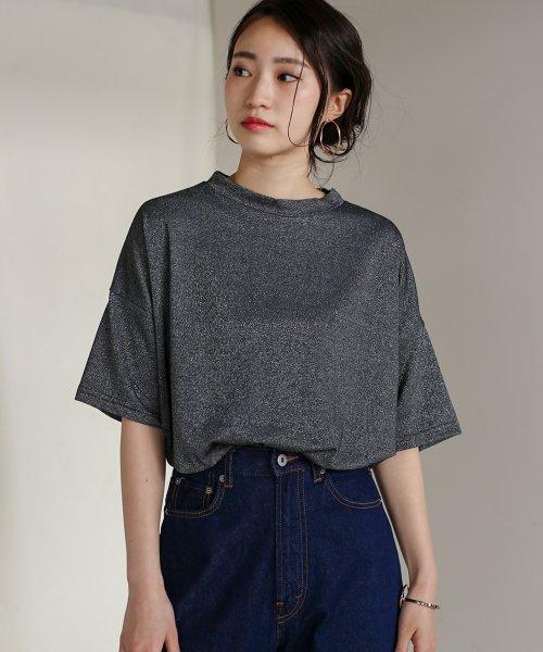 Bou Jeloud(ブージュルード)/◆ゆったりシルエット◆ラメプチハイネックTシャツ/692017
