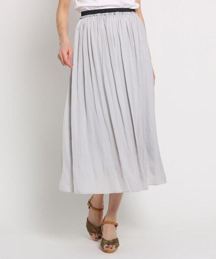 【洗える】アンピクシスサテン ロングスカート