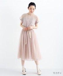 merlot/【plus】デコルテシースルーワンピース/502332702